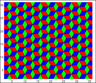 Multi-colored cubes arranged to create the illusion of hexagons.