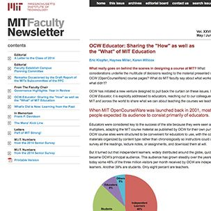 A screenshot of the MIT Faculty Newsletter article titled 'OCW Educator: Sharing the How as well as the What of MIT Education.'