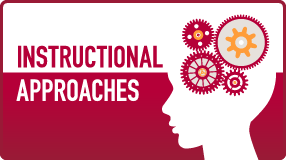 The text 'Instructional Approaches' alongside an illustration of the silhouette of a head with an assortment of gears connected inside.