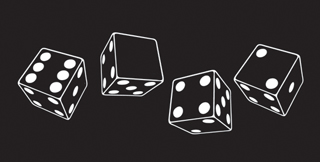 Four dice representing the course number 6.042.