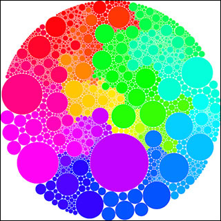 Multi-colored circles of various sizes all inside of a larger circle.