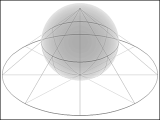 A gray sphere with black lines projecting from a single point on the sphere to a flat circle below.