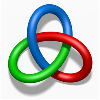 A knotted loop with the three colors red, green, and blue.