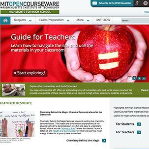 A screenshot of the MIT OpenCourseware website, featuring a large graphic of an apple with an equals sign carved into it. The headline reads 'Guide for Teachers.'